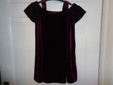 Next Girls Burgundy Velvet Cold Shoulder Party Dress Special Occasion - 4 Years