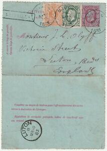 1883 Belgium 10c lettercard+10c+5c MIDI 4 TPO boxed BRUXELLES->Luton GB