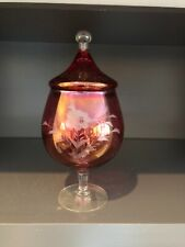 Cranberry Flashed Art Glass Footed & Etched Compote W/Lid Candy Dish Vintage