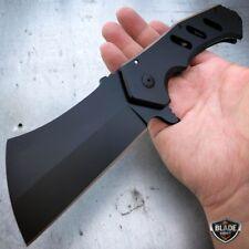 """10"""" Giant Tactical Assisted Open Pocket Knife Cleaver Folding Blade Black New -a"""