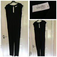 Wallis full length black maxi jumpsuit dress Size 12 occasion party casual (A401