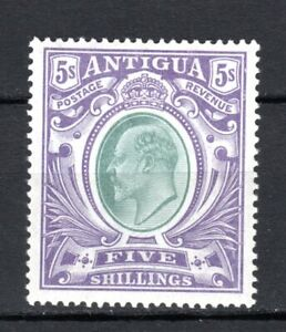 ANTIGUA 1903-1907 KEVII 5s GREY-GREEN SG#40 MLH STAMP LIGHTLY HINGED