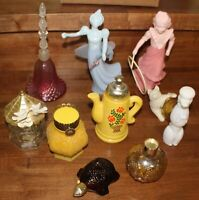 Lot of 10 Vintage Avon Cologne Perfume Bottles Figurines Bell Turtle Cat Poodle