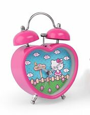 Hello Kitty Heart Shaped Twin Bell Desk Pink Alarm Clock Gift Boxed