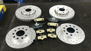 FOR AUDI AVANT QUATTRO SEAT SKODA VW FRONT REAR DRILLED GROOVED BRAKE DISCS PADS