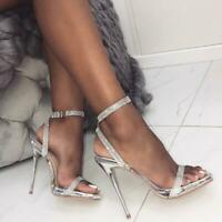 Womens Rhinestone Stiletto High Heel Sandals Bling Bling Shoes Open Toe Party