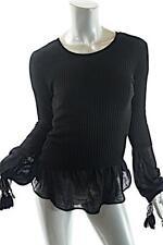 Jean Paul Gaultier Maille Femme Black 100% Virgin Wool Faux 2 Piece Sweater Sz S