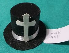 Black Sparkle Easter Top Hat w White Cross & White Band Ken Barbie Doll KNH488