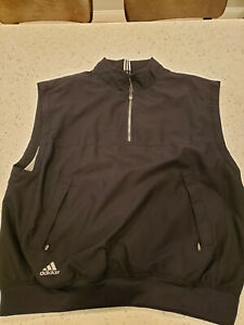 Adidas Men's Golf Wind Vest Size XL Black 1/2 Zip Vented Black 3 Stripe