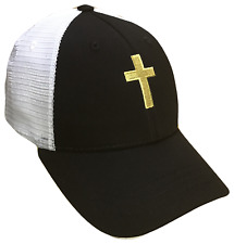 Black & Gold Christian Cross Mesh Golf Cap Hat Caps Religious Hats God Jesus
