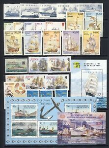 Ships and boats stamp collection mnh vf on two pages includes submarines