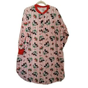 Vintage Disney Mickey Mouse Minnie Mouse Holiday Nightshirt Long Sleeve