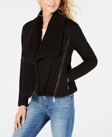 $98 Guess Women'S Black Asymmetrical Zipper Front Sherpa Lined Jacket Size M