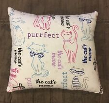 "Beautiful Handmade Fleece Kitty Cat Accent - Throw Pillow 10"" x 8"" Purrfect"
