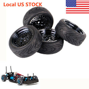4PCS Drift Tires&Electroplated Wheels 12mm Hex For HPI HSP RC 1:10 On Road Car