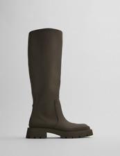 ZARA Rubberised Flat Boots Tall Knee Khaki Green Wellies GANNI UK 7 Bloggers!