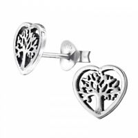 925 Sterling Silver Heart Tree of Life Stud Earrings