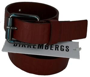 Men's Belt Leather BIKKEMBERGS Belt Men Leather Embossed DB H.3 D1818 Cognac