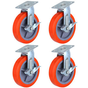 200mm Polyurethane Castor Wheels,4 Swivel Castors with brake, Heavy Duty Caster