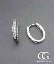 9 Carat Huggie White Gold Fine Earrings