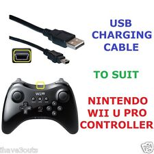 USB Battery Charging Cable Nintendo Wii U Pro Controller Charger Lead Power Cord