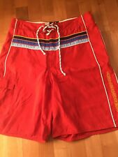 Abercrombie And Fitch Men's Red Bathing Suit Size 32 Swimwear