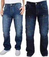 New Men's Designer Crosshatch Parcoz Combat Classic Straight Fit Denim Jeans