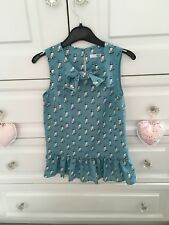 M&S Girls Pale Blue Floral Chiffon Sleeveless top with cat print