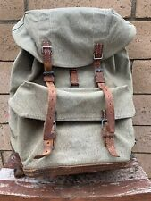 Vintage Rare Swiss Army Leather Canvas Rucksack backpack