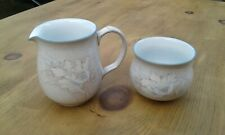 """Denby Tasmin Cream / Milk Jug 2.75"""" and Open Sugar Bowl Lovely Condition"""