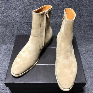 Mens 100% Real Leather Chelsea Ankle Boots Shoes British Pointy Toe Zip Business