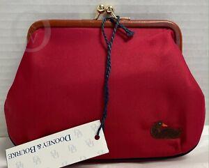 NWT*Vintage*Dooney & Bourke *NYLON*Red/Blue Large Frame Kisslock Kiss loc Wallet