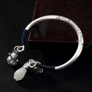 S999Pure Silver Fortune Cat White Jade Yulan Men-Women's Jewelry Bracelet Bangle