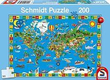 Schmidt Mappamondo Puzzle per Bambini, 200 Pezzi (r7j)