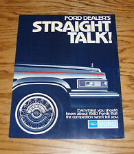Original 1980 Ford Straight Talk Full Line Sales Brochure 80 Thunderbird Mustang
