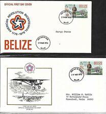 "BELIZE 1976 2 FDCs CHARLES LINDBERGH ""SPIRIT OF ST LOUIS"" AMERICAN BICENTENNIAL"