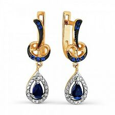 Russische Rose Rotgold 585 Ohrhänger mit Brillanten & Saphire. Rose gold earring