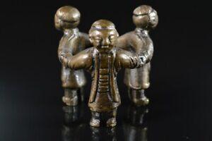 L8358: Japanese Copper DOLL Statue sculpture Ornament Figurines Okimono