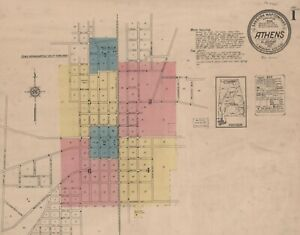 Athens,  Alabama Sanborn Map© sheets made 1884 to 1921~~ CD~ 17 maps in color