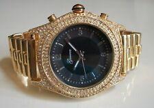 Men's Black Dial Gold Finish Bling Dressy/Casual Fashion Wrist Watch