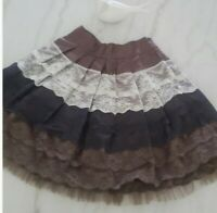 Twelve by Twelve tiered ruffle mini skirt lace combo boho size medium
