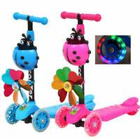Kids 3 Wheel Scooter Push T-Bar LED Flashing Children Scooter Adjustable Gift