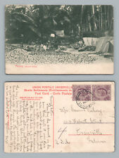 """Penang """"Coconut Drying"""" Antique—Straits Settlement Stamp SINGAPORE to USA 1908"""