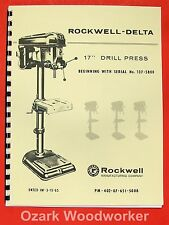 "ROCKWELL-DELTA 17"" Drill Press Operator's & Parts Manual 0639"