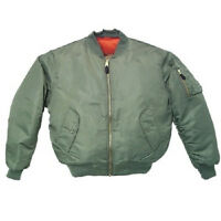 GREEN Sage Men's MA-1 Military Style Bomber Flight Jacket 2XL EXT EXT LARGE NEW