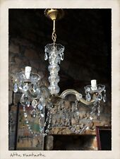 VINTAGE CRYSTAL 3 BRANCH CHANDELIER CEILING LAMP in the FRENCH PROVINCIAL STYLE