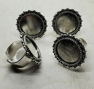 20mm Ornate Antique Silver Adjustable Ring Blank Settings (4) - L1055