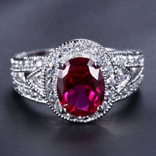 Handmade Natural 4.0ct Ruby Size US 7 14K White Gold Ring CM141