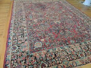 9x12 Antique Sarough (Sarouk) wool Oriental Area Rug RED Blue Navy