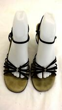 """AEROSOLES WOMENS BROWN LEATHER STRAPPY 3.25"""" WEDGE HEELS SIZE 10 M"""